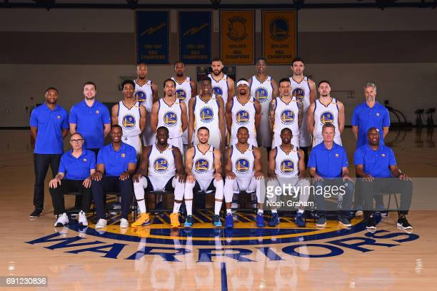 The 20162017 Golden State Warriors team poses for a team photo on March 17 2017 at the Warriors Practice Facility in Oakland California NOTE TO USER...