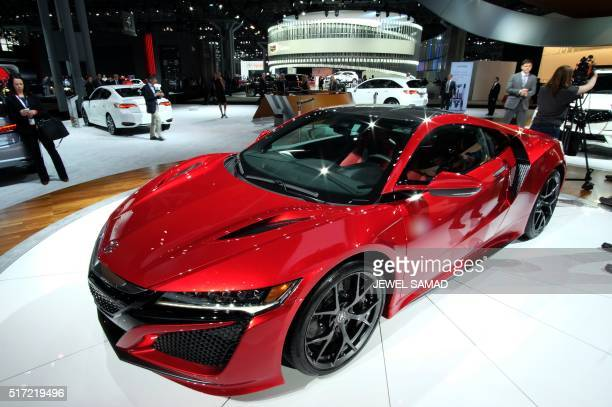 The 2017 Acura NSX is displayed during the New York International Auto Show on March 24 2016 / AFP / Jewel SAMAD