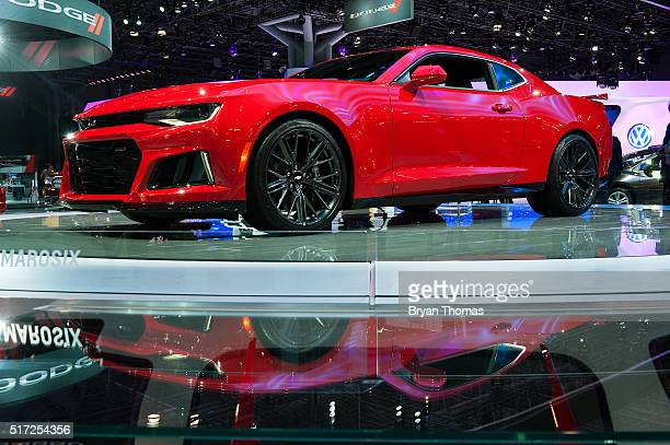 The 2017 Chevrolet Camaro ZL1 is displayed at the New York International Auto Show at the Javits Center on March 24 2016 in New York City The car...