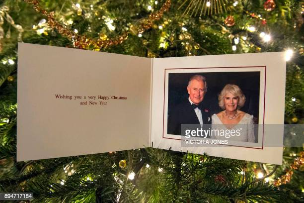 The 2017 Christmas card of Britain's Prince Charles Prince of Wales and Britain's Camilla Duchess of Cornwall showing a photograph of the royal...