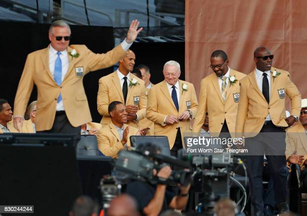 The 2017 class with Jerry Jones and during introductions The 2017 NFL Hall of Fame class including Dallas Cowboys owner Jerry Jones and former TCU...
