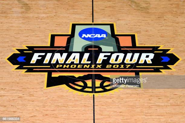 The 2017 Final Four logo is seen on the court ahead of the 2017 NCAA Men's Basketball Final Four at University of Phoenix Stadium on March 31 2017 in...