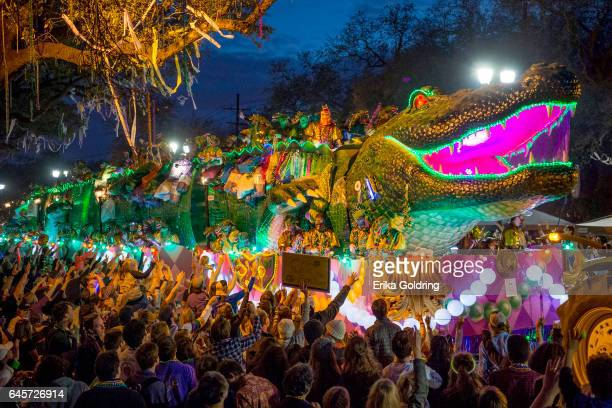 The 2017 Krewe of Bacchus parade takes place along the traditional Uptown parade route on February 26 2017 in New Orleans Louisiana