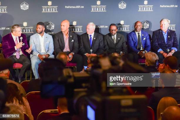 The 2017 NFL Hall of Fame Class was announced and includes from left Kurt Warner Ladanian Tomlinson Jason Taylor Jerry Jones Kenny Easley Terrell...