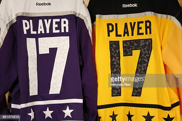 The 2017 NHL AllStar Team Jersey numbers are photographed at the NHL Headquarters on January 10 2017 in New York City The numbers are inspired by the...