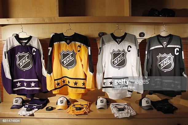 The 2017 NHL AllStar Team Jerseys are photographed at the NHL Headquarters on January 10 2017 in New York City