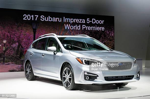 The 2017 Subaru Impreza 5Door is introduced at the New York International Auto Show at the Javits Center on March 23 2016 in New York NY Chief...