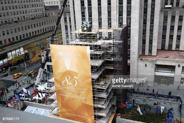 The 2017 Swarovski Star raising to the top of the Rockefeller Center christmas tree is held at Rockefeller Center on November 16 2017 in New York City