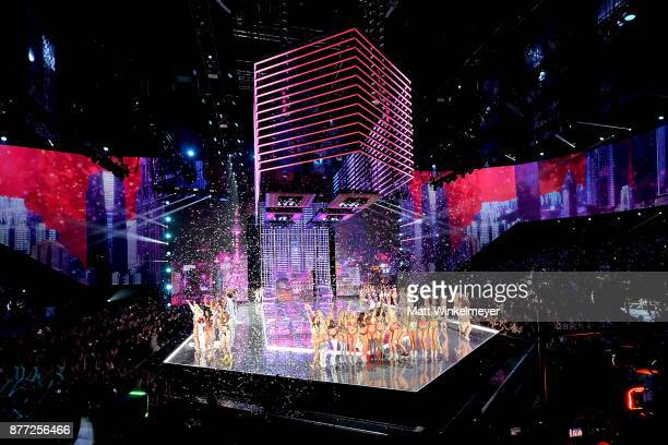 The 2017 Victoria's Secret models pose on the runway at the end of the 2017 Victoria's Secret Fashion Show In Shanghai at MercedesBenz Arena on...