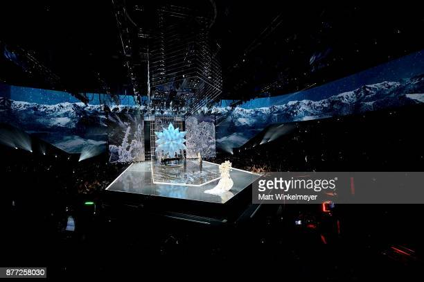 The 2017 Victoria's Secret models walk the runway as Leslie Odom Jr performs during the 2017 Victoria's Secret Fashion Show In Shanghai at...