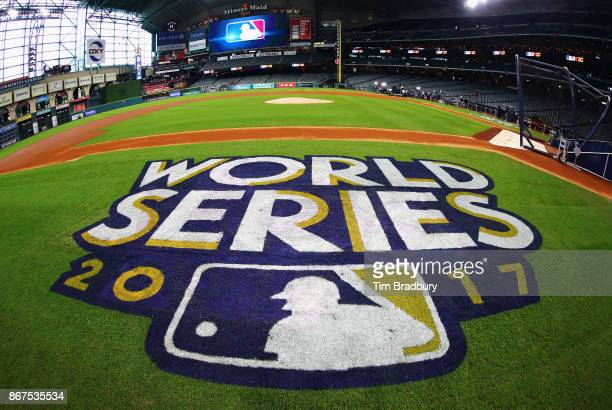 The 2017 World Series logo is seen on the field before game four of the 2017 World Series between the Los Angeles Dodgers and the Houston Astros at...