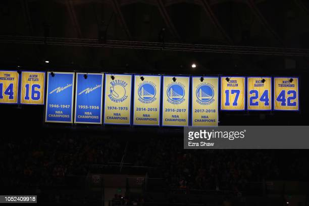 The 20172018 Golden State Warriors Championship Banner hangs at ORACLE Arena on October 16 2018 in Oakland California NOTE TO USER User expressly...