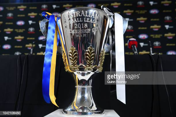The 2018 AFL Premiership Cup is on display at the official 2018 AFL Grand Final press conference at the Old Treasury Building on September 28 2018 in...