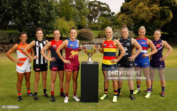 The 2018 AFLW Captains Amanda Farrugia of the Giants Stephanie Chiocci of the Magpies Daisy Pearce of the Demons Emma Zielke of the Lions Erin...