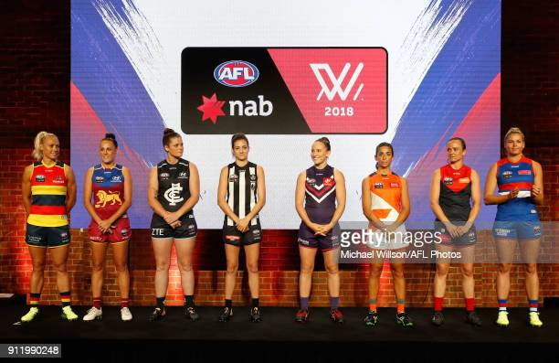 The 2018 AFLW club captains Erin Phillips of the Crows Emma Zielke of the Lions Brianna Davey of the Blues Stephanie Chiocci of the Magpies Kara...