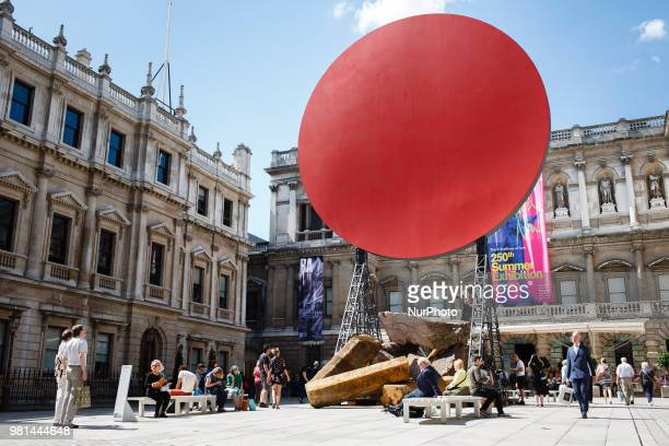 The 2018 artwork 'Symphony For A Beloved Daughter' by British sculptor Anish Kapoor stands in the courtyard of the Royal Academy of Arts on...