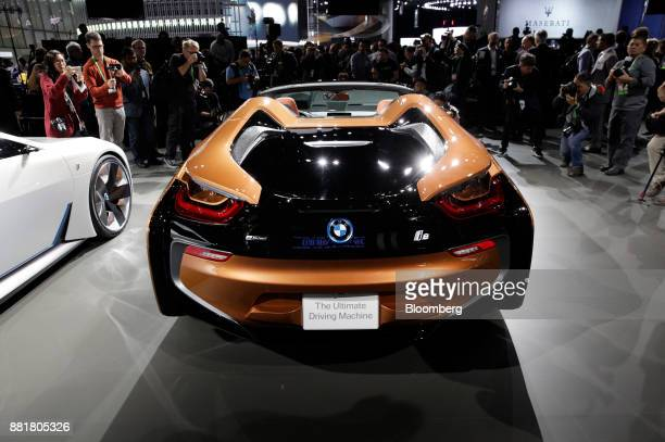 The 2018 Bayerische Motoren Werke AG i8 Roadster plugin hybrid vehicle is displayed during AutoMobility LA ahead of the Los Angeles Auto Show in Los...