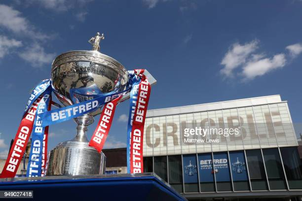 The 2018 Betfred World Championship trophy is seen outside the venue during a media day ahead of the World Snooker Championships at Crucible Theatre...