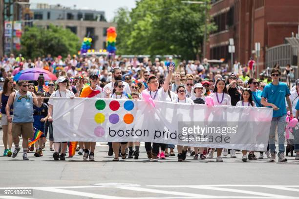 The 2018 Boston Pride Parade makes it way up Berkeley St on June 9 2018 in Boston Massachusetts