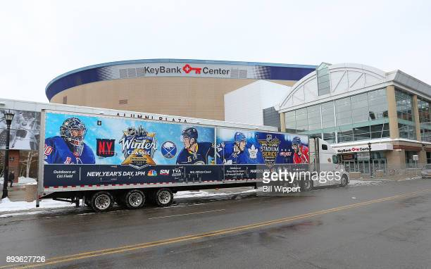 The 2018 Bridgestone NHL Winter Classic Ice Plant makes a stop on December 15 2017 at KeyBank Center home of the Buffalo Sabres in Buffalo New York...