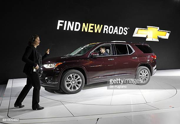 The 2018 Chevrolet Traverse SUV is shown getting ready for its reveal at the 2017 North American International Auto Show on January 9 2017 in Detroit...