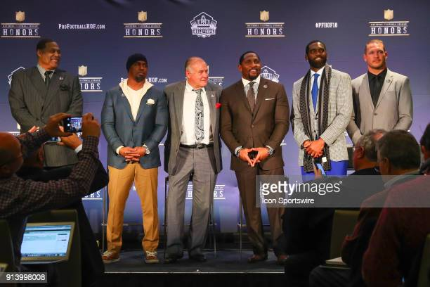 The 2018 Class selected to the Pro Football Hall of Fame at NFL Honors during Super Bowl LII week on February 3 at Northrop at the University of...