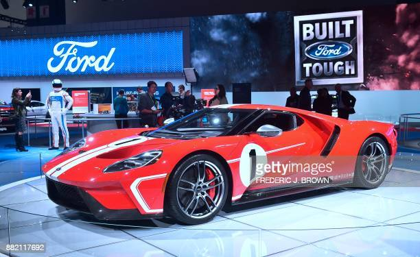 The 2018 Ford GT '67 Heritage Edition on display at the 2017 LA Auto Show on November 29, 2017 in Los Angeles, California, on the second of 3 press...