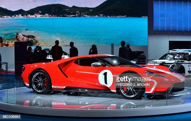The 2018 Ford GT '67 Heritage Edition on display at the 2017 LA Auto Show on November 29 2017 in Los Angeles California on the second of 3 press days...