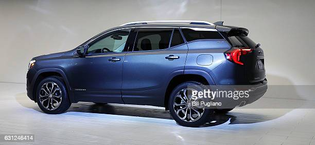 The 2018 GMC Terrain is shown at its reveal at the 2017 North American International Auto Show on January 8 2017 in Detroit Michigan Approximately...