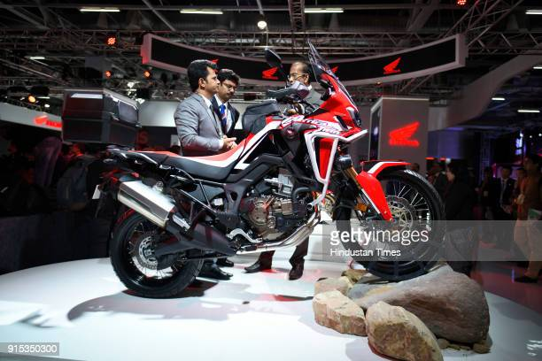 The 2018 Honda Africa Twin Adventure Sports Concept bike on display during the Auto Expo 2018 Motor Show at the India Expo Mart on February 7 2018 in...