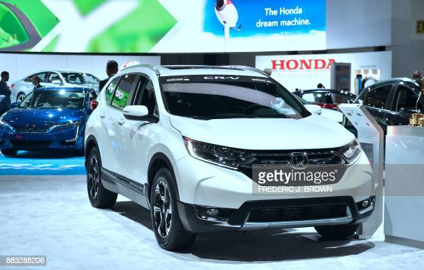 The 2018 Honda CRV Motor Trend Magazine's 2018 SUV of the Year is displayed at the 2017 LA Auto Show in Los Angeles California on November 30 which...