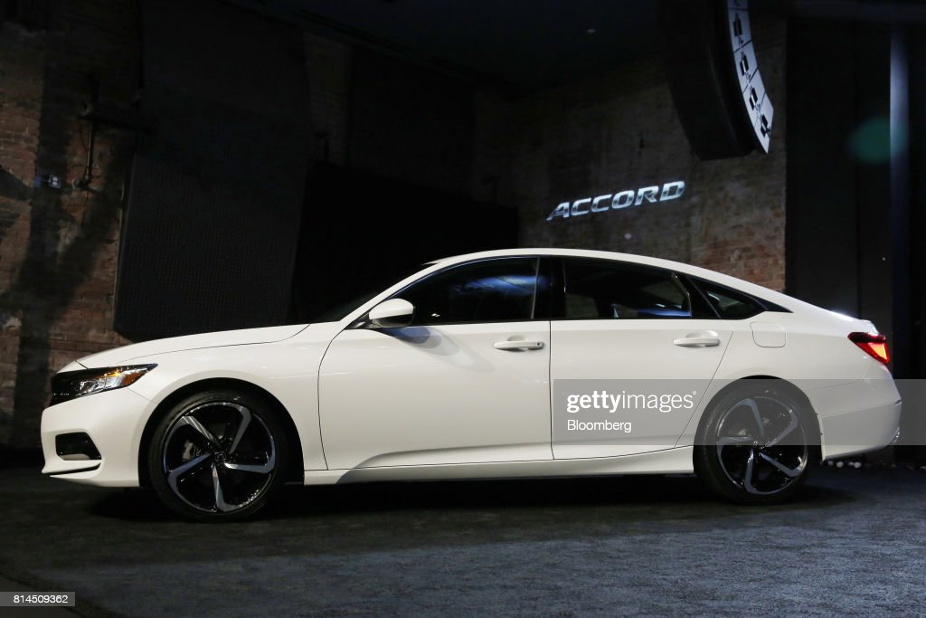 The 2018 Honda Motor Co Accord Vehicle Sits On Display During A Global Reveal Event