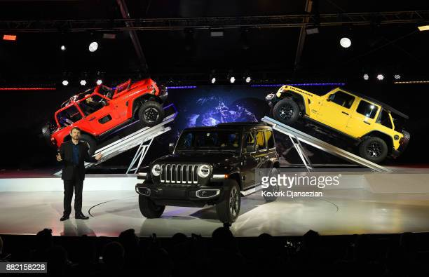 The 2018 Jeep Wrangler is introduced Mike Manley president and CEO of Jeep during the auto trade show AutoMobility LA at the Los Angeles Convention...