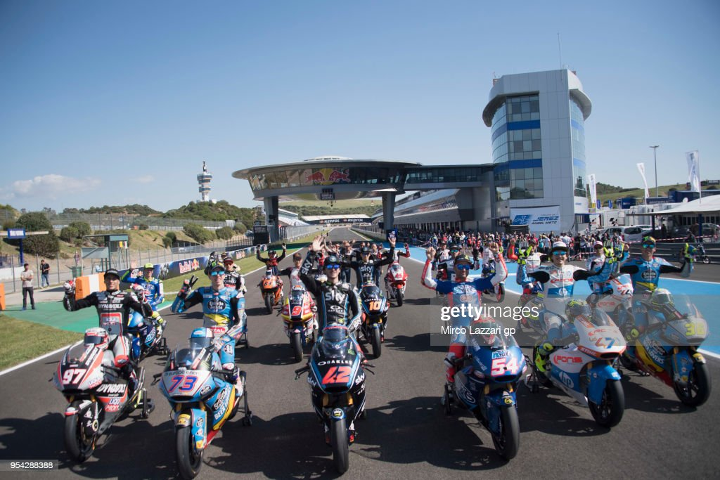 The 2018 Kalex bikes and Moto2 Riders pose on track during the MotoGp of Spain - Previews at Circuito de Jerez on May 3, 2018 in Jerez de la Frontera, Spain.