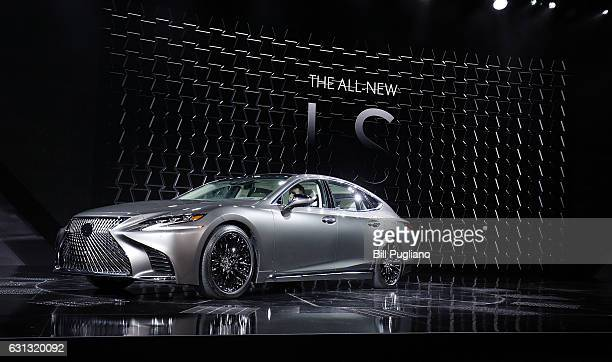 The 2018 Lexus LS Sedan is shown at its reveal at the 2017 North American International Auto Show on January 9 2017 in Detroit Michigan Approximately...