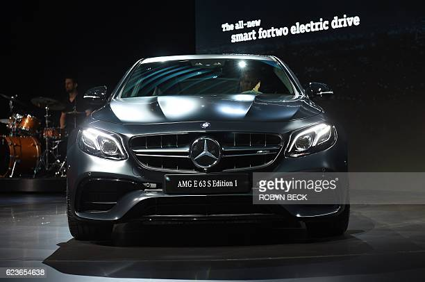 The 2018 Mercedes AMG E 63 S Edition 1 is unveiled at the MercedesBenz/Smart press conference during the Automobility LA Press Trade Days and...