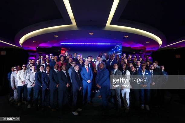 The 2018 NBA 2K League Draft class pose for a photo at Madison Square Garden on April 4 2018 in New York City