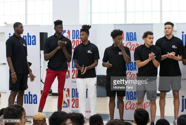 the 2018 NBA Draft prospects looks on at the Jr NBA Clinic and NBA Cares event on June 20 2018 at Basketball City in New York New York NOTE TO USER...