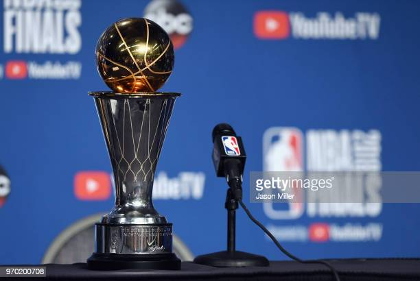 The 2018 NBA Finals MVP trophy sits near the microphone before the press conference for Kevin Durant of the Golden State Warriors after defeating the...