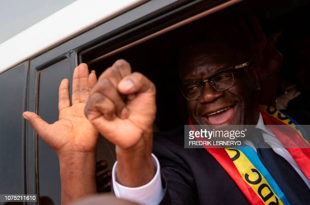 The 2018 Nobel peace laureate Dr Denis Mukwege waves at wellwishers upon his arrival at Kavumu Airport on December 27 as he returns in RDC for the...