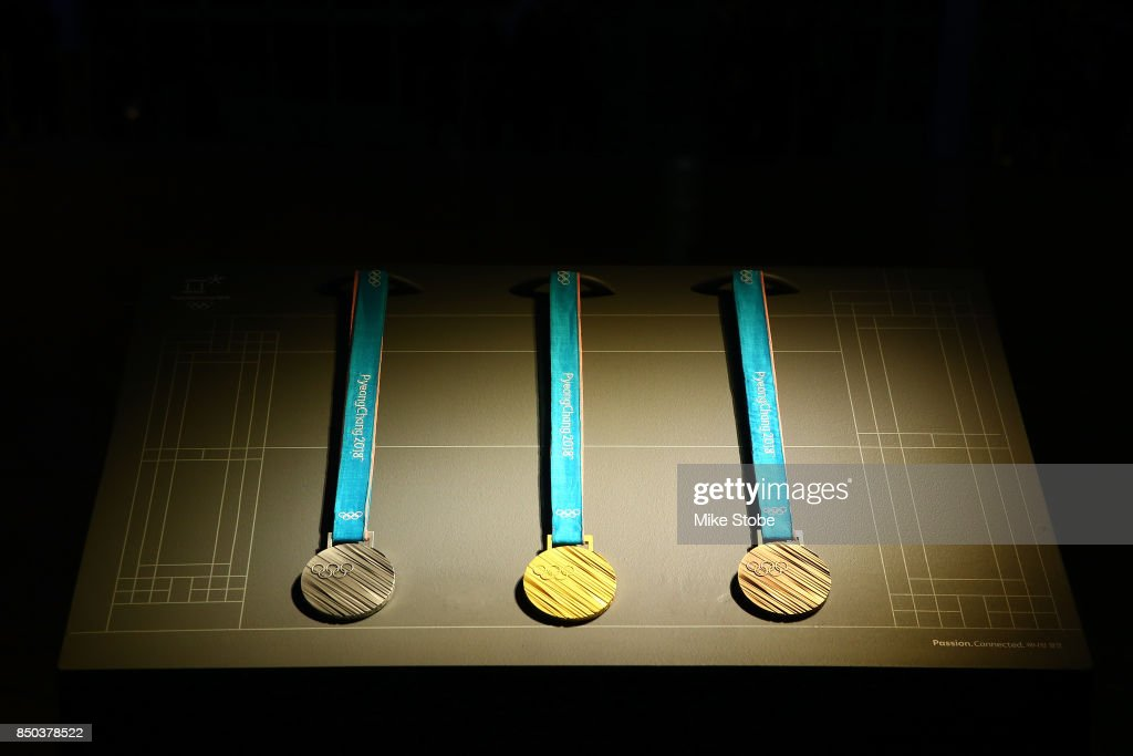 The 2018 Olympic & Paralympic Winter Games medals are unveiled at The Metropolitan Museum of Art on September 20, 2017 in New York City.