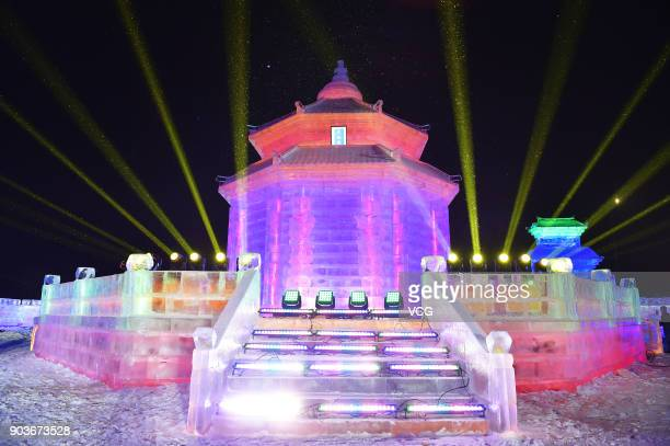 The 2018 Shenyang International Ice and Snow Festival opens at the Qipanshan Ski Resort on January 10 2018 in Shenyang Liaoning Province of China...