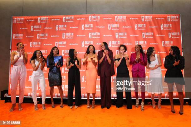 The 2018 WNBA draftees poses for a portrait on the orange carpet prior to the WNBA Draft 2018 on April 12 2018 at Nike New York Headquarters in New...