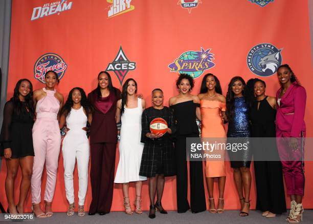 The 2018 WNBA draftees poses for a portrait prior to the WNBA Draft 2018 on April 12 2018 at Nike New York Headquarters in New York New York NOTE TO...