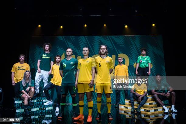 The 2018 World Cup kit is revealed during the Nike Football Australian National Team Kit Launch on April 5 2018 in Sydney Australia