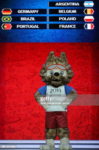 The 2018 World Cup mascot gets up on stage during the Behind the Scenes of the Final Draw for the 2018 FIFA World Cup at the Draw hall on November 29...