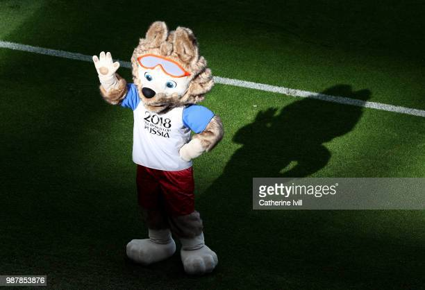 The 2018 World Cup Mascot Zabivaka enjoys the pre match atmosphere prior to the 2018 FIFA World Cup Russia Round of 16 match between France and...