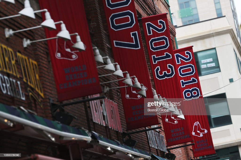 The 2018 World Series championship banner hangs outside of