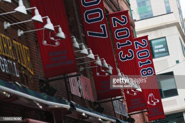 The 2018 World Series championship banner hangs outside of Fenway Park in Boston after the Red Sox beat the Los Angeles Dodgers to win the...