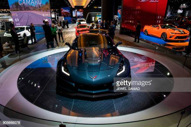 The 2019 2019 Corvette ZR1 is pictured during the press preview at the 2018 North American International Auto Show in Detroit Michigan on January 16...